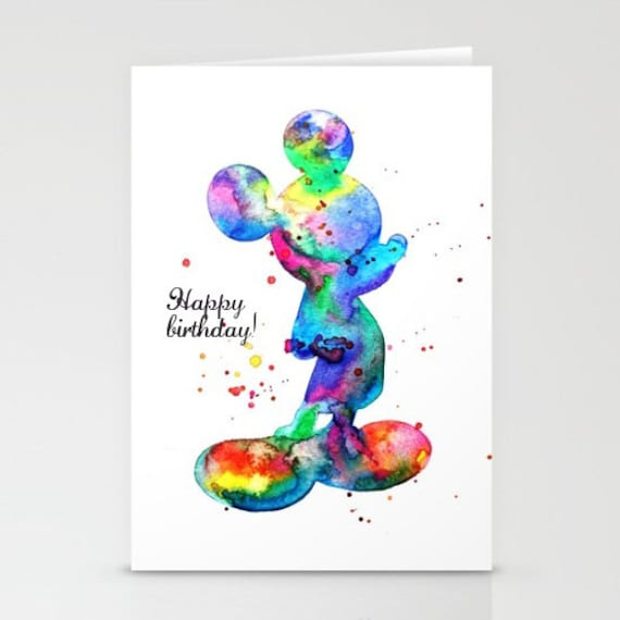 Happy Birthday Card Mickey Mouse Greeting Card Walt Etsy