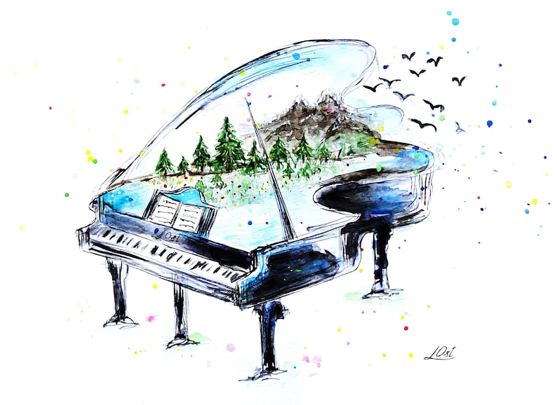 Watercolor Piano with nature Watercolor Piano Nursery art Art Print Musical Instrument Print of My Original Painting Wall Art