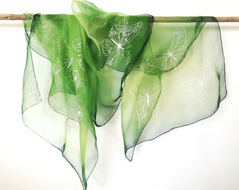 """Hand Painted Silk Scarf, green scarf with butterflies. Approx 18"""" x 71"""" (45 x 180 cm)."""