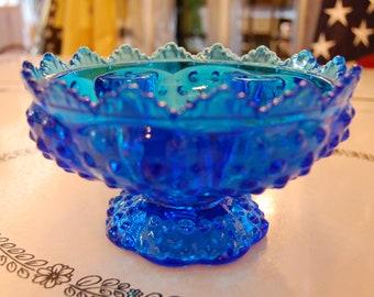Fenton Blue Hobnail Candle Holder Bowl