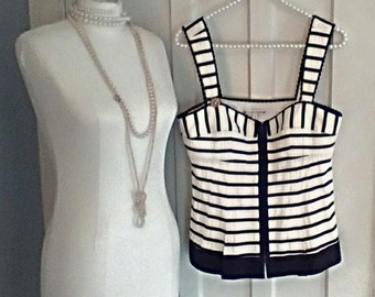 Nanette Lepore Black and White Striped Bustier Top