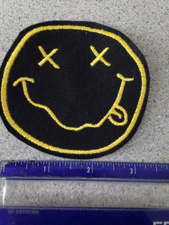 NIRVANA Yellow Logo Rectangle kurt cobain SEW//IRON ON EMBROIDERED PATCH NEW