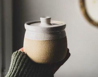 Salt Jar - wheel thrown stoneware, sea salt glaze, lidded jar