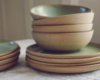 Complete Dinnerware Set for 4 in Lichen glaze - wheel thrown stoneware, place setting, pottery