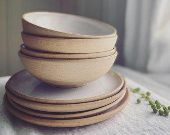 Dinnerware Set - Place Setting - Wheel Thrown Stoneware, Custom made, Salt glaze, dinner plate, dessert plate, soup bowl