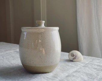 Stoneware Lidded Jar - Salt Glaze, wheel thrown pottery