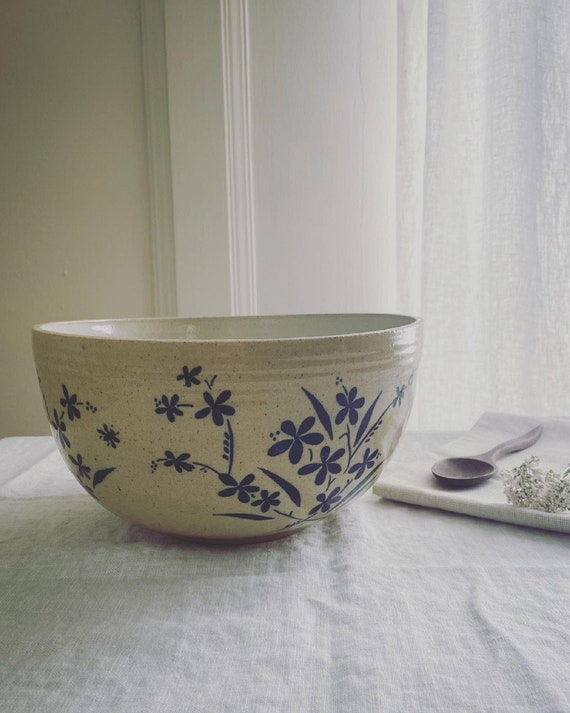 Freehand painted stoneware Large Wildflower Serving Bowl