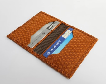 Leather credit card holder, credit card wallet, leather card holder, Snake embossed leather, Slim card holder