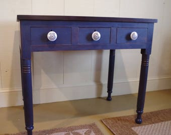 Table Vintage Side Table Foyer Table Entryway Table Desk Table Dovetail  Drawers Blue Cottage Furniture Farmhouse Furniture Country Furniture