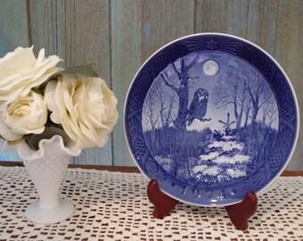 Owl ~ Owl Plate ~ Royal Copenhagen ~ Vintage Owl Plate ~ Blue And White Plate ~ Denmark ~ Vinterskumring ~ Winter Twilight ~ 1974