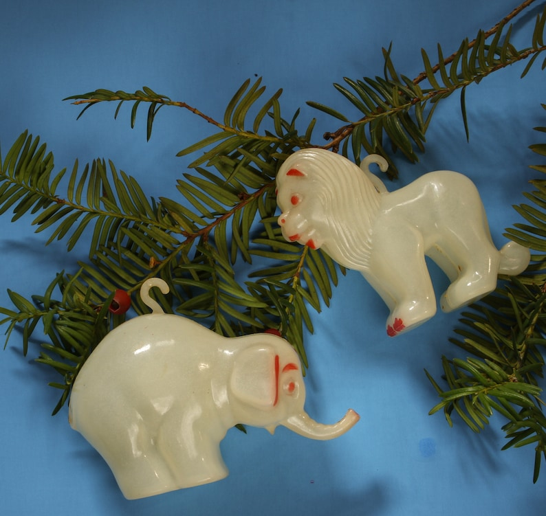 Antique Celluloid Circus Tiger Elephant Christmas Ornaments White Red Feather Tree Vintage Holiday 1930s