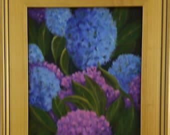 Original 16x20 Framed Oil Painting,Hydrangea Painting, Flowers, Blue Flowers, Purple Flowers