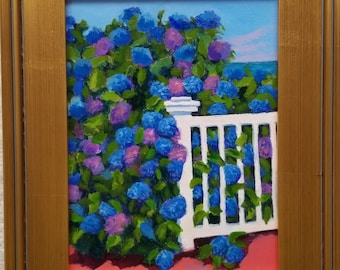 Original 9x12 Framed Oil painting, Hydrangea, Colorful painting, Cape Cod, Beach, Garden paintings