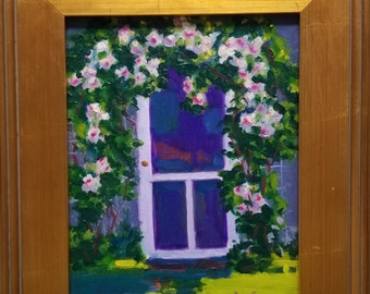 Original 9x12 Framed Oil painting, Floral, Colorful painting, Cape Cod, Garden paintings