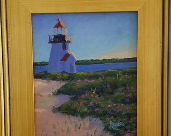 Original 8x10 Framed Oil Painting, Brandt Point, Early Morning, Nantucket, Lighthouse paintings, Cape Cod, Nantucket Oil Paintings