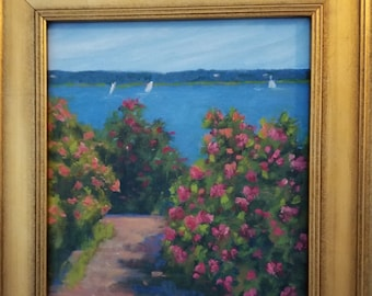 Original 8x10 Framed Oil painting, Down to the Beach, Coastal Maine, Seascapes