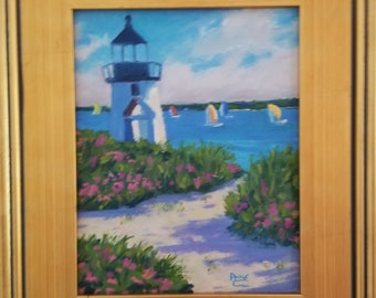 """Original 8x10 Framed Oil Painting, """"The Race"""", Nantucket, Brandt Point, Lighthouse paintings, Cape Cod, Nantucket Paintings"""