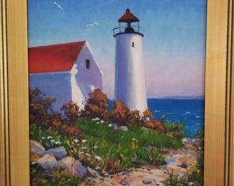 Original 16x20 Framed Oil Painting, Gloucester Light, Lighthouses, Coastal scenes, Lighthouse paintings
