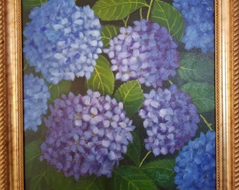 Original 16x20 Framed Acrylic on Canvas, Hydrangea, Blue Flowers, purple flowers, painting, Cape Cod paintings