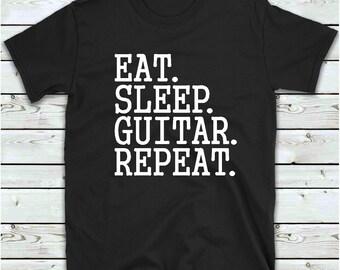 Eat Sleep Guitar Mens Guitarist Player Learner Expert Black T-Shirt