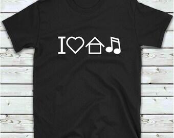 House Music Shirt, I Love House Music T Shirt, Men's Women's Funny T Shirt, Gift For DJ Disco Clubber Ibiza, Heart House Music Tee Shirt