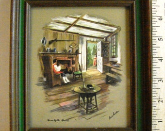 "Vintage Paul Porter Print ""Home by the Hearth"""