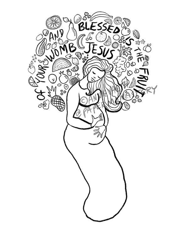 Catholic Coloring Page, Hail Mary Printable, Catholic Kids Craft, Original  Catholic Art, Pregnant Blessed Mother