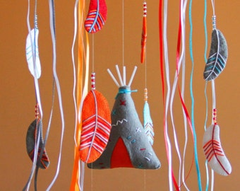 Tribal nursery Baby mobile Mobile baby Nursery mobile Crib mobile Nursery decor Baby boy mobile Tribal Teepee Feathers Dream catcher Bright