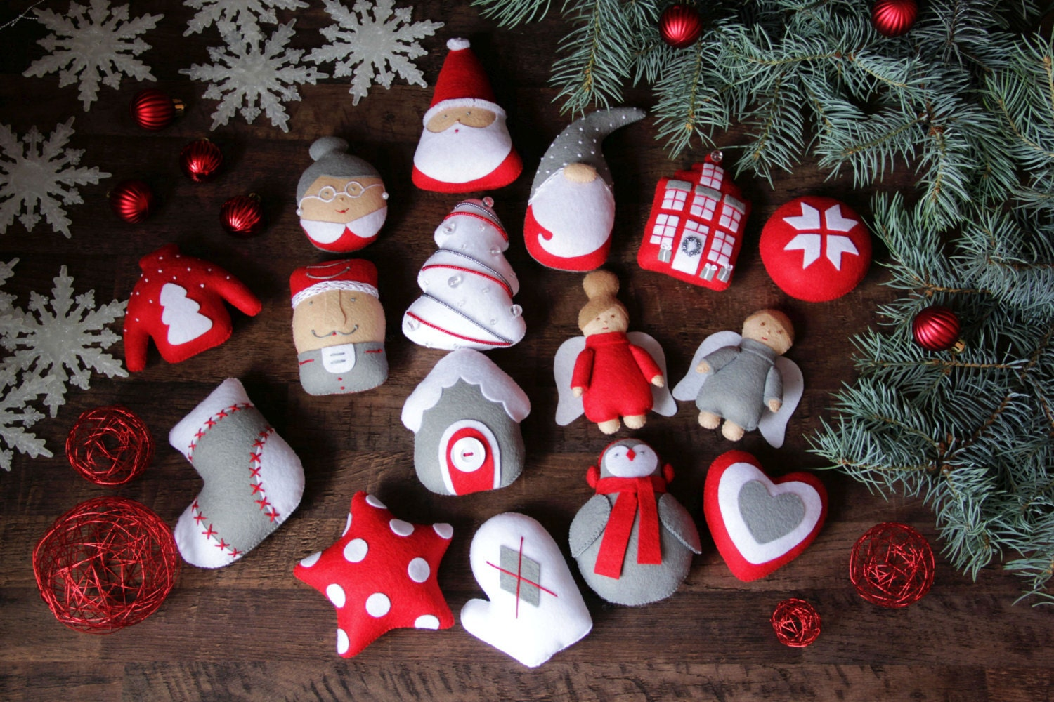 felt christmas ornaments felt ornaments set christmas set of etsy