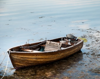 "Fine Art Photography Print ""Lonely Boat"" // Romantic Boat Photography, Wanderlust Travel Photography, Landscape Photography, Boat Print"