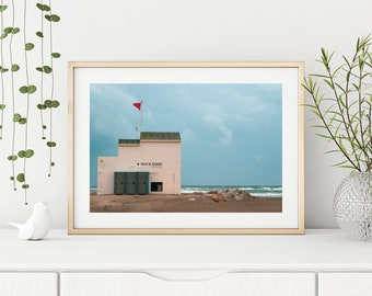 "Mid-Century Photography Print ""Poste De Secours"" // Retro Beach Fine Art Poster | Unframed Pastel Ocean Wall Art Print from Camargue, France"