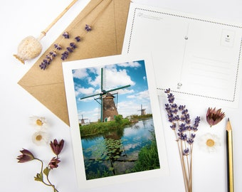 """Holland Postcard """"Windmills IV"""" with recycled envelopes // Ecofriendly Dutch Art Print Card   Netherlands Fine Art Photography Stationery"""