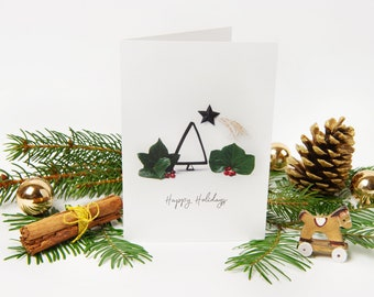 """Christmas Card 2021 """"No.8"""" with recycled envelopes // Holiday Greeting Card with Christmas Tree and Shooting Star 