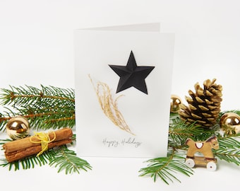 """Christmas Card 2021 """"No.3"""" with recycled envelopes // Holiday Star Greeting Card 