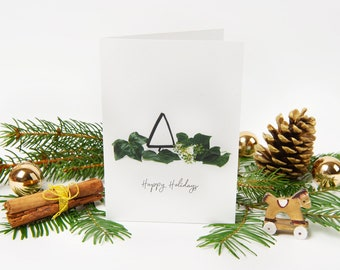 """Christmas Card 2021 """"No.2"""" with recycled envelopes // Holiday Plant Greeting Card 