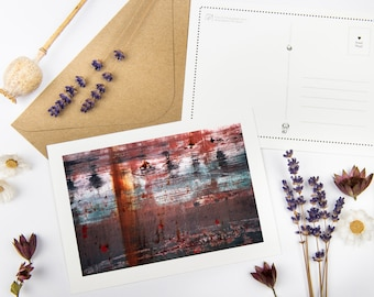 """Abstract Postcard """"Rust"""" with recycled envelopes // Ecofriendly Modern Encouragement Card   Sympathy Fine Art Photography Stationery"""