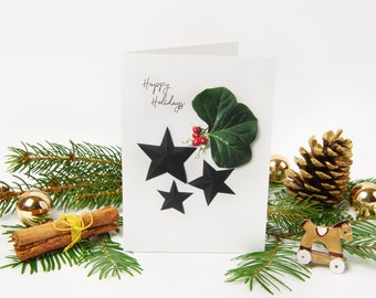 """Christmas Card 2021 """"No.4"""" with recycled envelopes // Holiday Greeting Card with Star and Winter Leaves 