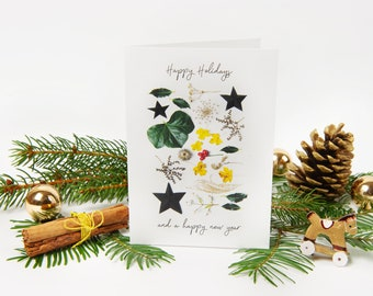 """Christmas Card 2021 """"No.5"""" with recycled envelopes // Nature Holiday Greeting Card 