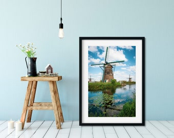 """Holland Photography Print """"Windmills IV"""" // Dutch Travel Scenery Fine Art Photography Poster   Unframed Wall Art Print from the Netherlands"""