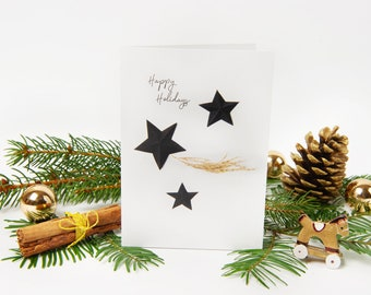 """Christmas Card 2021 """"No.6"""" with recycled envelopes // Holiday Greeting Card with Shooting Star 