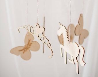 Unicorn mobile, unicorn baby gift, new baby, girl present, Wood mobile, Personalised baby, unicorn baby, gender neutral, unicorn