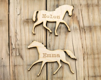 Horse wedding favours, wooden horse, horse place names, horse place settings, wood wedding, name card, engraved wooden name, guest names