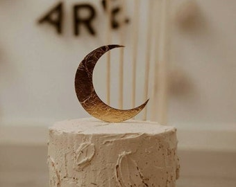 Gold or silver leaf moon wedding cake topper
