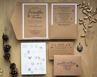 rustic wedding invitation rustic wedding pocket fold etsy