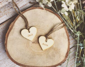 Wedding favour, wedding favors, place names, place settings, wooden heart favours, wood wedding, name card, engraved wooden name, guest name