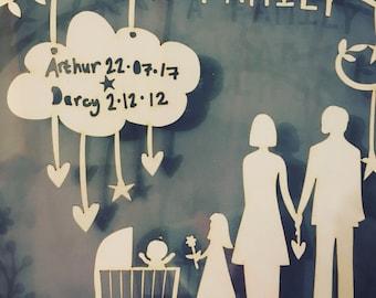 Family paper cut, family portrait, newborn gift, baby gift, framed paper cut, family artwork, personalised family artwork, family picture
