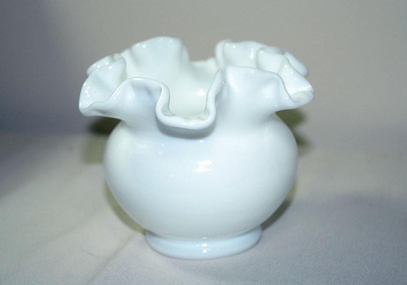Fenton Milk Old White Glass Rose Bowl Vase Double Crimped Ruffled Rim Smooth