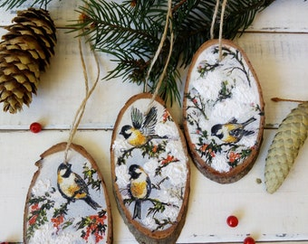 set christmas tree slice winter birds wooden christmas ornament rustic wood slice dcor birch trees decorations winter rustic decor - Wooden Christmas Tree Decorations