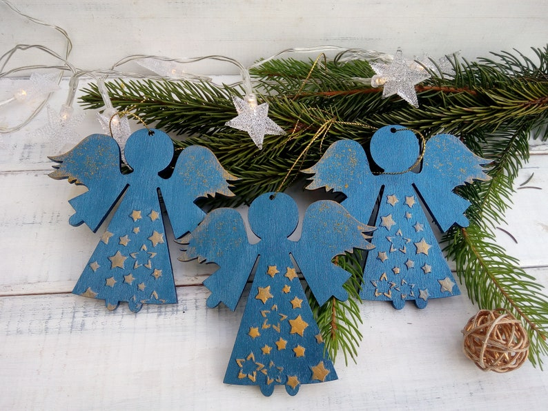 Christmas Ornament Blue Wooden Angels With Golden Stars Christmas Tree Décoration Christmas Gift Xmas Décor Christmas Wreath Christmas Sale