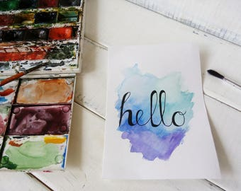 Hello card watercolor Original Watercolor card painting watercolor Lettering design blue card art original painting Greeting cards